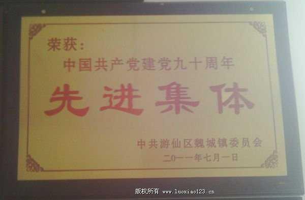 荣获中国共产党建党九十周年先进集体-荣丽大枣合作社-集体荣誉-魏城镇荣发村党总支村委会 第2张