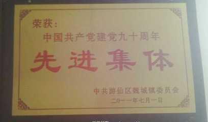 荣获中国共产党建党九十周年先进集体